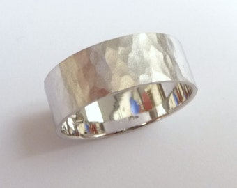 Men's hammered wedding band women and mens wedding ring white gold 7mm wide flat hammered mat finish