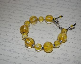 Yellow  Swirl  Glass  Bracelet