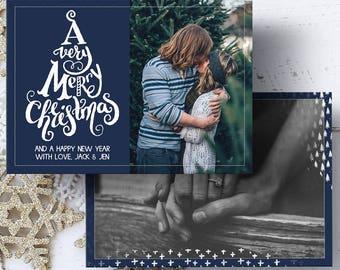 Photo Christmas Card, Printable Photo Christmas Card, Family Photo Holiday Card, Printable Greeting Card, 5x7 Card, Digital File, JPEG, PDF