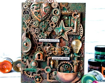 Mixed media assemblage - Recycled artwork - Steampunk gifts for men - Hot air balloon decorations - Steampunk home decorating ideas