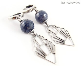 Sapphire in oxide - silver earrings with sapphire