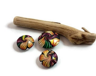 polymer clay beads, art beads, lentil beads, swirl beads, floral beads, jewelry supplies, beading supplies, polymer pendant