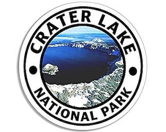 Round CRATER LAKE National Park Sticker (hike travel rv)