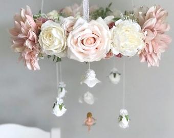 Fairy floral chandelier, fairy flower mobile, whimsical baby mobile, fairy mobile, pink flower mobile, blush flower mobile, pink baby mobile