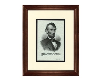 Print and Quotation of Abraham Lincoln with Mat and Frame