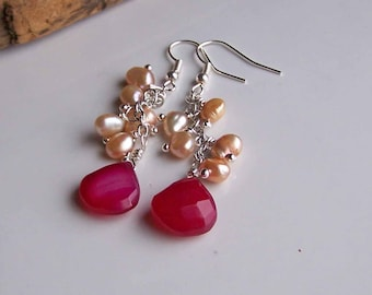 Pink Chalcedony Briolettes, Hot Pink Earrings, Fuchsia Earrings, Champagne Freshwater Pearls, Dangle, Etsy, Beaded Earrings