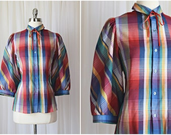 vintage 1980s red & blue plaid blouse | size Large top 70s button down 3/4 sleeves | cotton dress shirt summer tartan puff sleeve western