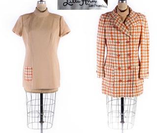 Vintage LILLI ANN Coat & Dress set // Lilli Ann Coat // Lilli Ann Dress // 70s Dress Set // 70s Micro Mini Dress - sz L - 34 Waist