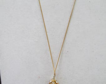 Gold chain necklace with stunning crystal tear drop pendant 1940's