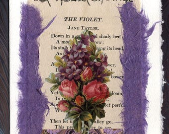 Violet Roses Friendship Thinking of You Original Collage Card