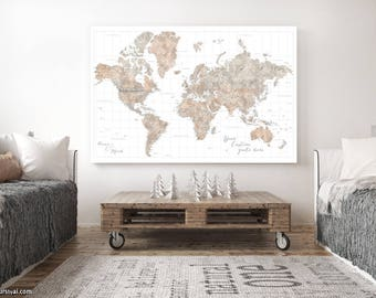 Framed world map etsy high detail world map push pin canvas highly detailed world map push pin personalized framed map watercolor map large map map149 028 gumiabroncs Image collections