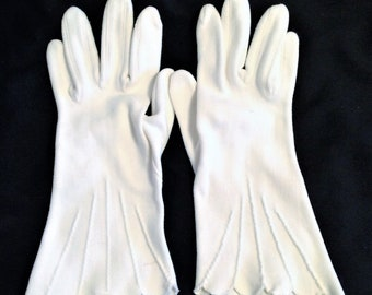 1950s Vintage White Cotton Art Deco Gloves Larger Size