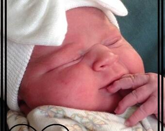 NEWBORN HOSPITAL HAT for Girls, Infant hospital hat, all white infant hospital hat,Little Bit Of Glam Baby Girl Hat