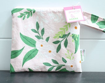 d2cd99d650 wetbag wet bag The ICKY Bag petite pink green flower modern baby gift  waterproof gym sports cloth diaper pouch zipper handle baby gift