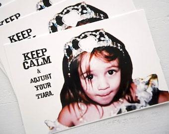 "Princess Postcards Set of 4 Keep Calm and Adjust Your Tiara by RememberMeEmily 4"" x 6"" Princess Girlfriend"