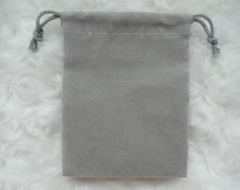 Grey Velvet Drawstring Pouch 3X4 Inch Set of 6 Gray Velvet Pouches Gray Bag Gray Pouch Velour Pouch Velvet Bag Velveteen Pouch