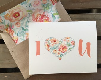 I heart U - Love - Note Card - Anniversary - To your Loved Ones or Significant Other - Recycled - Eco Friendly