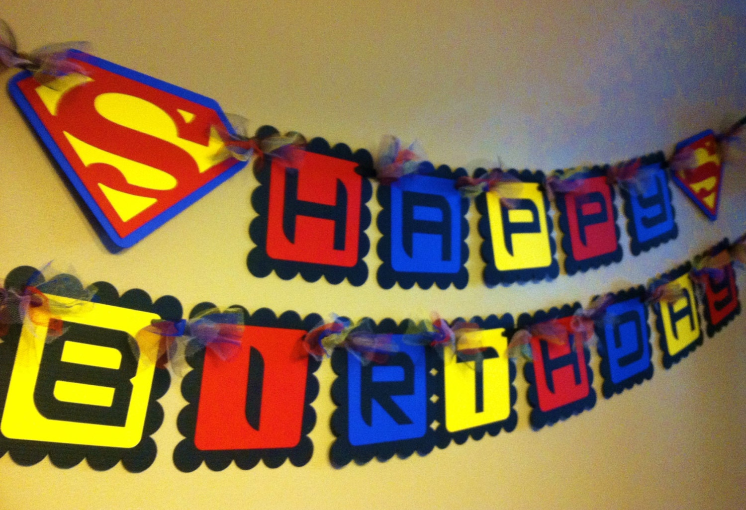 Superman inspired happy birthday banner zoom jeuxipadfo Image collections