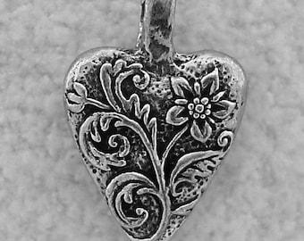 Green Girl Studios Pewter Floral Heart Pendant Bead