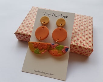 Polymer Clay Earrings 'Mustard Floral'/Tiered dangle