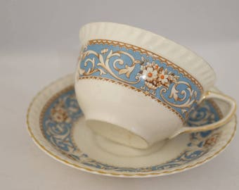 Beautiful Johnson Brothers Ironstone Tea Cup and Saucer Blue Band Scroll and Floral Design, Blue Tea Cup, English Tea Cup