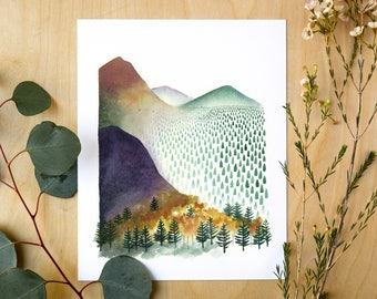 Mountain Morning Giclee Print | Watercolor Mountain Landscape
