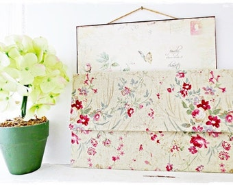 Bridesmaids large envelope clutch purse red rose green evening purse