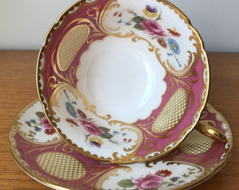 Vintage Shelley China Teacup and Saucer, Opulent Pink Tea Cup and Saucer with Pink Roses and Gold Accents