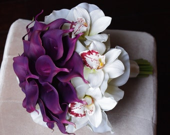Silk Purple Calla Lilies and Off White Cymbidium Orchids Bouquet Ready to Ship Wedding Natural Touch Flowers