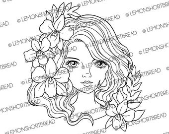 Digital Stamp Orchid Lady Face, Digi Download, Coloring Page, Flowers Girl, Floral, Scrapbooking Supplies, Summer