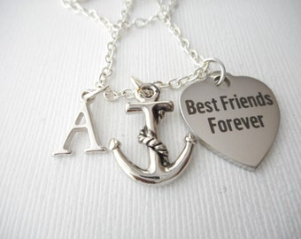 Best Friends Forever, Anchor- Initial Necklace/ Sister, Gift Ideas, Birthday Gift, bff jewelry, Personalized Friend, for bff
