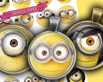 "Round Minions cartoons faces - digital collage sheet - td235 - 1.5"", 1.25"", 30mm, 1 inch circles magnet, Images for pendant, cabochon caps"