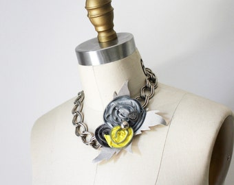 Gray and Canary Yellow Zippers Necklace