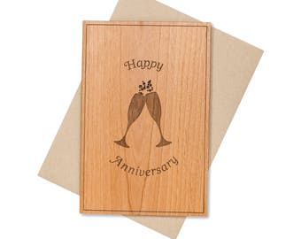 Wedding Toasting Glasses Anniversary Card. 5th Year Anniversary Gift Wood Card.