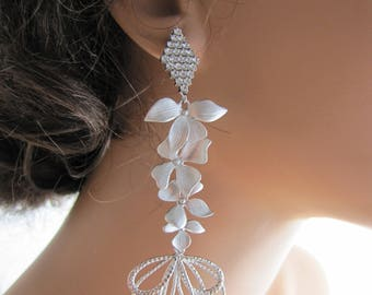 Long dangle bridal chandelier earrings, long sparkling earrings with orchid leafs and fanned pendants - Evana