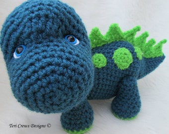 Crochet Pattern Dinosaur by Teri Crews Instant Download PDF Format Crochet Toy Pattern