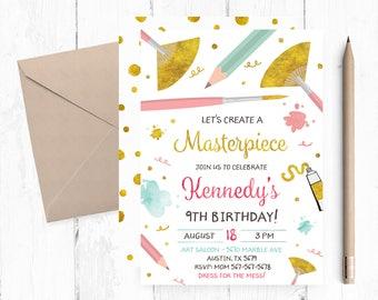 Art Party Invitation, Paint Party Invitation, Art Birthday Party Invites, Artsy Party Invite, Art Birthday Party Invitations, Art Invites,