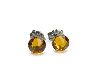 Titanium Stud Earrings Topaz, Topaz Swarovski Crystal Studs, Titanium Posts for Sensitive Ears, Pure Titanium Earrings, Topaz Earrings
