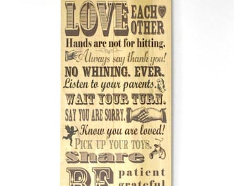 Rustic Family Rules Sign wood pallet sign 11x22