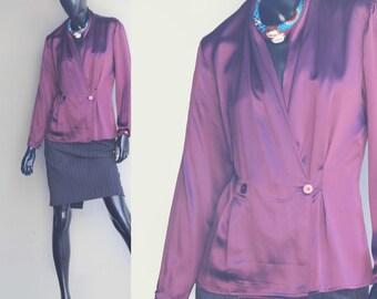 Vintage Mr.Jax Aubergine Silk Double-Breasted Blouse  US Size 6