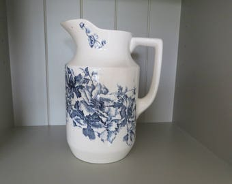Large vintage blue and white French style jug/pitcher with a lovely blue poppy design.