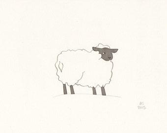 Sheep art - Ewe - Small original illustration on paper - limited edition