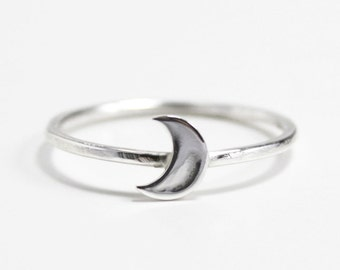 sterling silver moon ring, stacking ring, crescent moon ring, unique gift, zenned out, RTS SRS01