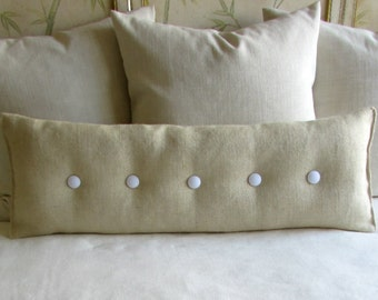 36 inch PARCHMENT Burlap with white buttons sofa or long bed pillow