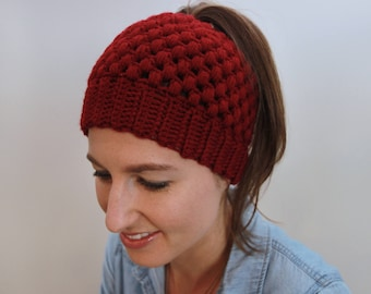 Messy Bun Beanie, Top Knot Hat, Ponytail Hat, Crochet winter hat, Gift for her, Red Women's Hat,