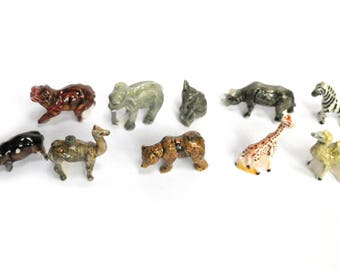 10 beans animals miniature cake of Kings or collector of miniatures - Decoration showcases the Menagerie porcelain