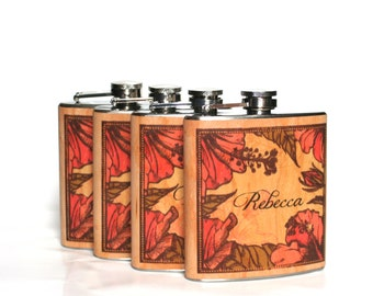 Seven Bridesmaids gifts Unique Maid of Honor gift, personalized wood Flasks