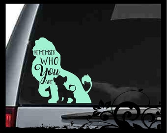 """Remember Who You Are """" Disney Inspired"""" Lion King - Simba - Vinyl Decal - Car Deca l- Silhouette - Mac Book - Sticker - Truck - Tumbler"""