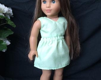 American Girl Doll Dress Mint Green Polka Dot