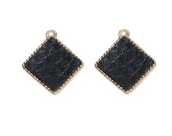 x 2 square 16 mm gold metal pendants and black leather.